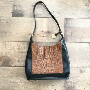 Brahmin Black & Brown Bag Purse Crocodile Leather